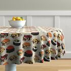 Round Tablecloth Sushi Pug Dog Breed Japanese Food Red Beige Black Cotton Sateen