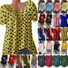 Womens Short Sleeve T-shirt Loose Tee Casual Summer Beach Blouse Tops Plus Size