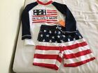 NWT Gymboree Boys July 4th Swimsuit Rash Guard Swim trunk Set Toddler