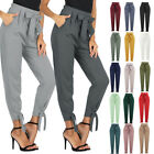 Women's High-Waist Belt Decorate Pencil Capri Pants W/ Bow-Knot Loose Trousers