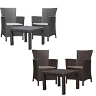 Garden Furniture Set Outdoor Armchairs + Table Polyrattan Curver Solid 2 Colours