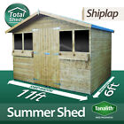 11X6 Tanalised Pressure Treated Garden SummerShed Summer House + 1FT Overhang