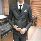 Men's Double Breasted Lapel Striped Wedding Suit Groom Business Formal dress New