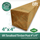 **PACK OF 5**  8FT  (4 x 4) Tanalised Timber Post For Fencing