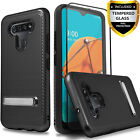 For LG K51 Hybird Shockproof Kickstand Cover + Tempered Glass Protector