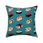 French Bulldog Sushi Kawaii Throw Pillow Cover w Optional Insert by Roostery