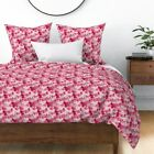 Floral Flowers Spring Pink Cranberry Mid Century Sateen Duvet Cover by Roostery image