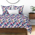 Fynbos Floral Magenta Blue Protea Pink And Green Sateen Duvet Cover by Roostery image