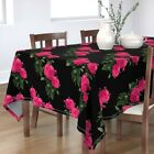 Tablecloth Pink Roses Photography Floral Redoute Black Romantic Cotton Sateen