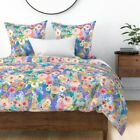 Periwinkle Pastel Floral Spring Floral Pastel Sateen Duvet Cover by Roostery image