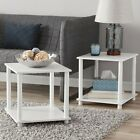End Tables Set of 2 Shelf Storage Accent Table Night Bed Stand Finish Pair Cube