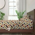 Sushi Pug Dog Breed Japanese Food Red 100% Cotton Sateen Sheet Set by Roostery
