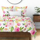 Watercolor Floral Large Flowers Big Pink Rose Sateen Duvet Cover by Roostery image