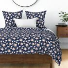 Floral Florals Flowers Painted Blush Pink Navy Sateen Duvet Cover by Roostery image