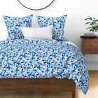 Watercolor Watercolour Blue Indigo Floral Flowers Sateen Duvet Cover by Roostery image