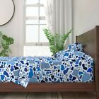 Confetti Camouflage Blue And White 100% Cotton Sateen Sheet Set by Roostery