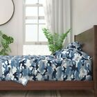 Blue Camoflauge Camo Natural Camping 100% Cotton Sateen Sheet Set by Roostery