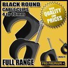 Black Round Cable Clips Electrical Wires Flex Cord Nail Clamps 4,5,6,7,8,9,10mm