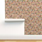 Removable Water-Activated Wallpaper Strawberry Garden Green Pink Polkadot Large