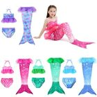 Kids Mermaid Tail Swimmable Swimwear Girl Bikini Set Bathing Suit Beachwear 3PCS