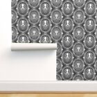 Wallpaper Roll Steampunk Octopus Cameo Black White Tentacles 24in x 27ft