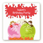 Ice Cream Birthday Party - Square Personalized Birthday Party Stickers