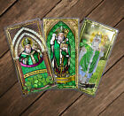 Saint St Patrick of Ireland Stained Glass  statue art laminated Holy cards
