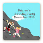 Rock Climbing Birthday Party - Square Personalized Birthday Party Stickers