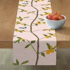 Table Runner Chinoiserie Citrus Tree Branches Fruit Leaves Cotton Sateen