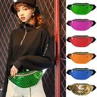 Women Shiny Leather Chest Bag Casual Sports Shoulder Crossbody Pack Waist Pouch