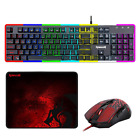Redragon S107 Gaming Keyboard and Mouse Combo Mouse Pad,RGB Backlit Side Light