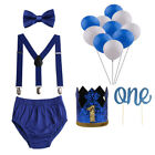 Baby Boys Cake Smash Outfit First Birthday Bloomers Suspenders Bowtie with Crown