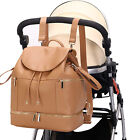 PU Mommy Baby Diaper Bag Backpack Leather Nappy with Chaning Pad Bottle Warmer