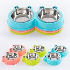 Pet Dog Cat Feeding Station Stainless Steel Double Bowls Twin Dish Food Water