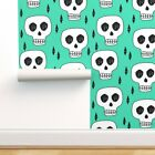 Removable Water-Activated Wallpaper Skulls Skull Halloween Bone Green Scary