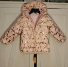 NEW Okie Dokie Toddler Pink/Gold Hearts Hooded Puffer Coat, Medium Winter Weight