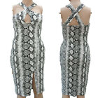 SNAKE PRINT BODYCON WIGGLE PENCIL DRESS CROSSOVER FRONT SIZE 8-14  ALTERNATIVE