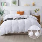 Andency Pom Pom Fringe Duvet Cover Queen Size (90 x 90 Inch), 3 Pieces (1 Fluffy