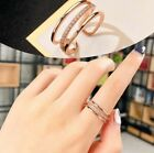 Women Girl Three Layers Crystal Rhinestone Ring Wedding Adjustable Ring Gift