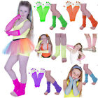 GIRLS NEON LEG WARMERS & FISHNET GLOVES FANCY DRESS PARTY TUTU ACCESSORIES