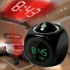 LED Digital Alarm Clock Voice Talking Temperature Wall Ceiling LCD Projection US