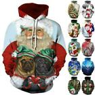 Womens Mens Christmas Long Sleeve Hooded Sweatshirt Casual Pullover Jumper Tops