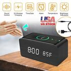 Digital LED Desk Alarm Clock Thermometer Qi Wireless Charger USB/AAA Battery