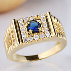Gold Plated Men Ring 925 Sterling Silver Band 4.5mm Round Shape CZ Stone