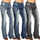 Women Embroidery Denim Jeans Pants Bottoms High Waist Stretchy Slim Fit Trousers