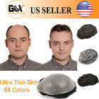 GEX Mens Toupee HairPiece V-loop 0.04mm Thin Skin Human Hair Replacement System