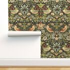 Removable Water-Activated Wallpaper Vintage Floral Bird Art William Morris