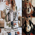 Women's Vintage Tribal Knitted Cardigan Sweater Coat Fashion Winter Blouse Tops