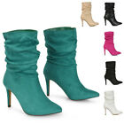 Womens Slouch Ankle Boots Ladies Stiletto High Heel Point Toe Booties Size 3-8