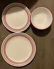 4 Corelle Ruby Red Dinner Plates Dotted Trim